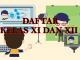Daftar Kelas XI dan XII