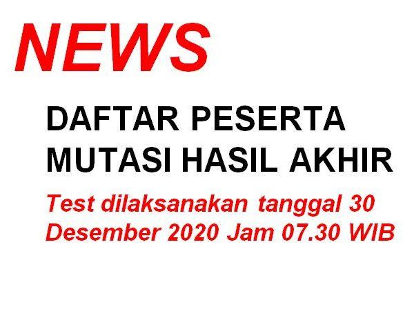 Daftar Peserta Mutasi Siswa Hasil Akhir Per Tanggal 29 Desember 2020 Jam 15.00 WIB